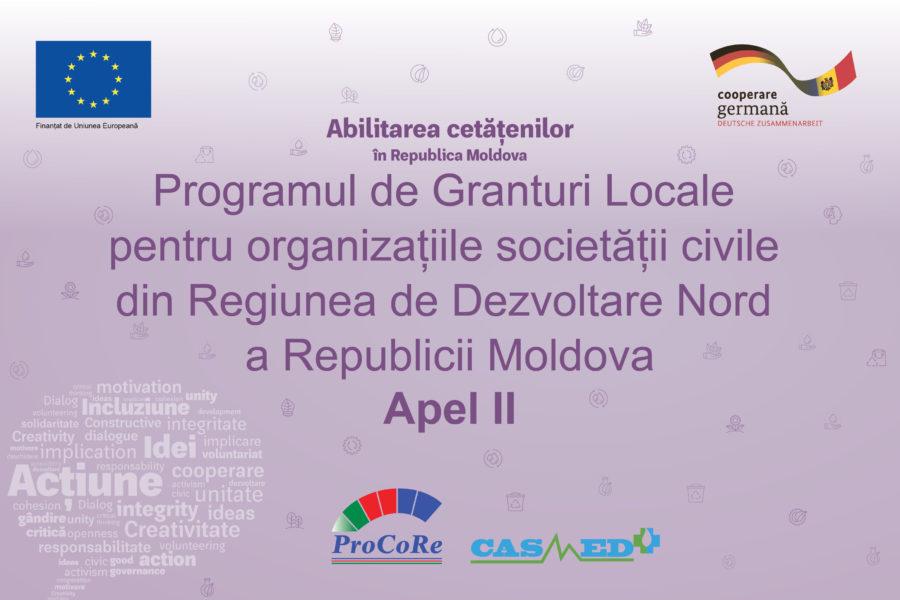 (Română) Apel II. Lansarea Programului de Granturi Locale pentru organizațiile societății civile din RD Nord a Republicii Moldova